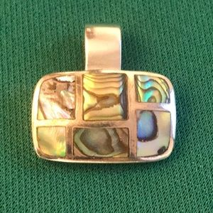 Rainbow Abalone Shell Pendant in Sterling Silver